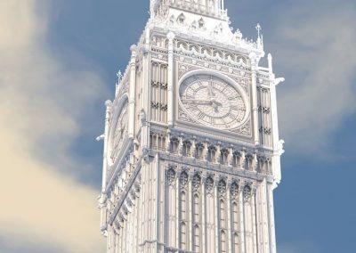 3d render c4d big ben torre sin materiales ni texturas