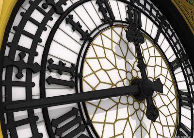 3d render c4d big ben detalle agujas reloj