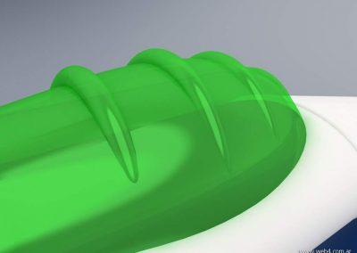 3d render c4d cepillo dental dosificador pulsador