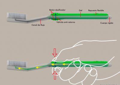 3d render c4d cepillo dental dosificador tecnico