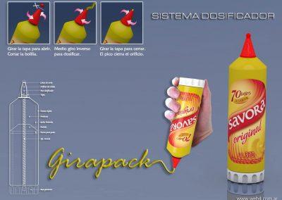 3d render c4d envase para salsas frias girapack tecnico