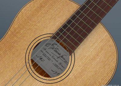 3d render c4d guitarra española detalle boca