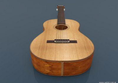 3d render c4d guitarra española inferior