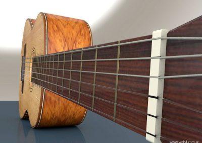 3d render c4d guitarra española detalle cejuela