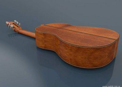 3d render c4d guitarra española volteada