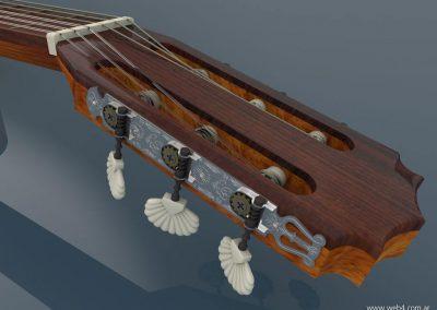 3d render c4d guitarra española clavijero superior