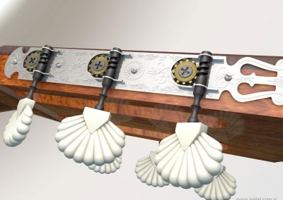 3d render c4d guitarra española detalle clavijas