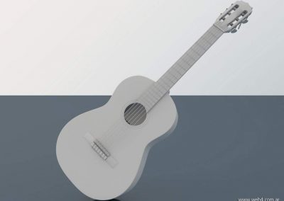 3d render c4d guitarra española sin materiales ni texturas