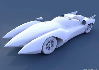 3d render c4d mach 5 speed racer sin texturas ni materiales