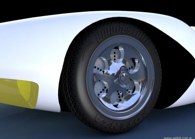 3d render c4d mach 5 speed racer detalle llanta