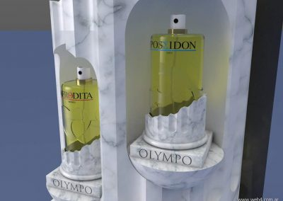 3d render c4d packaging para perfumes detalle exhibidor