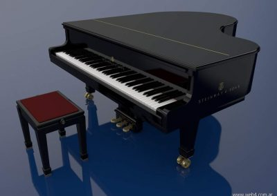 3d render c4d piano steinway superior lateral