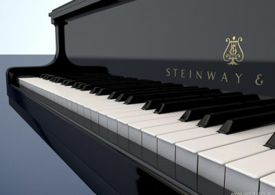 3d render c4d piano steinway teclado lateral