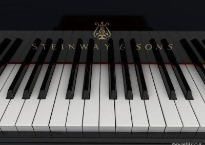 3d render c4d piano steinway detalle logo y teclado