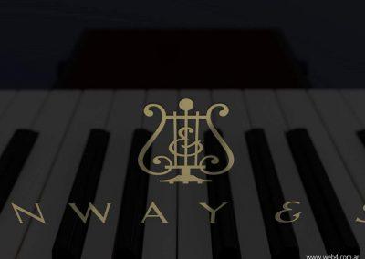 3d render c4d piano steinway detalle logo