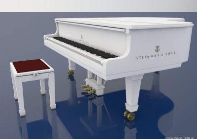 3d render c4d piano steinway blanco