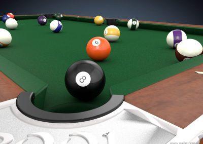 3d render c4d pool bola 8 tronera