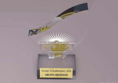Premio institucional en acrilico y grabado laser