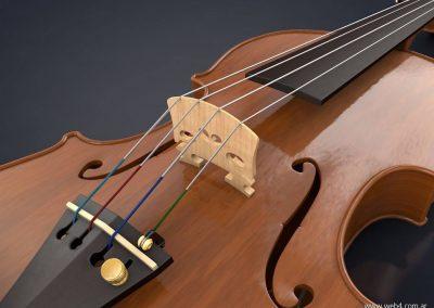 3d render c4d violin puente detalle