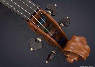 3d render c4d violin clavijero front