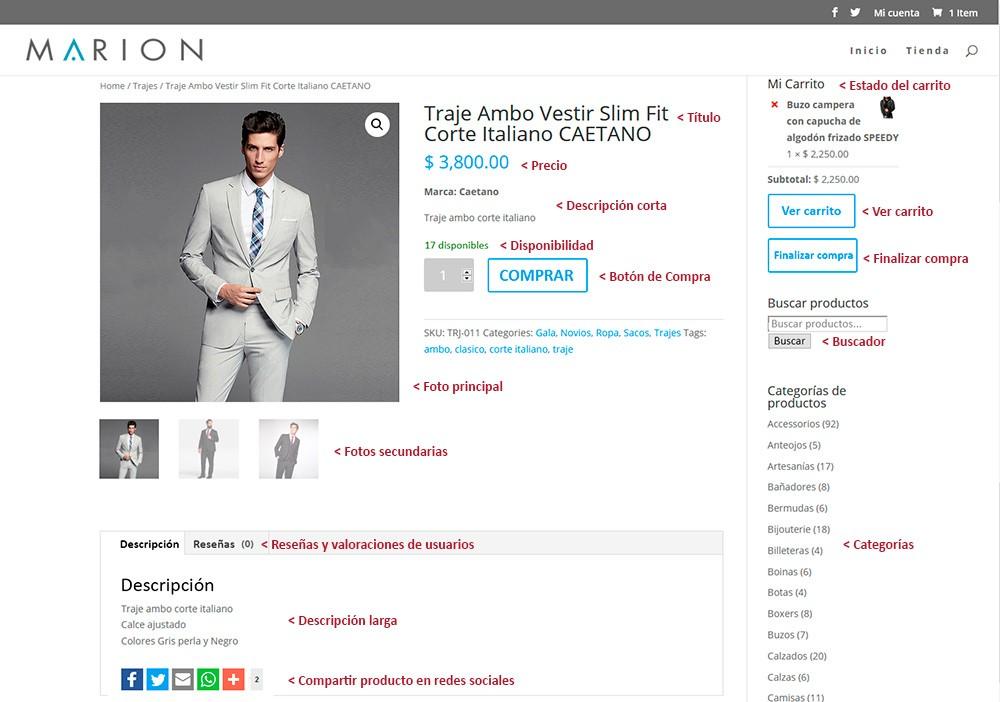 Detalle de pagina de compra de productos en tienda