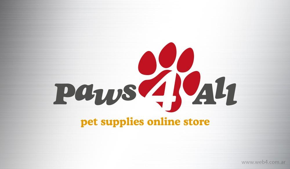 diseño logo paws 4 all tienda online de articulos para mascotas